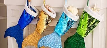 Dazzling colorful mermaid tail reversible sequin stockings.