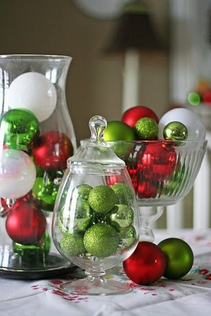 Dazzling red & green ornaments filled in glassware.