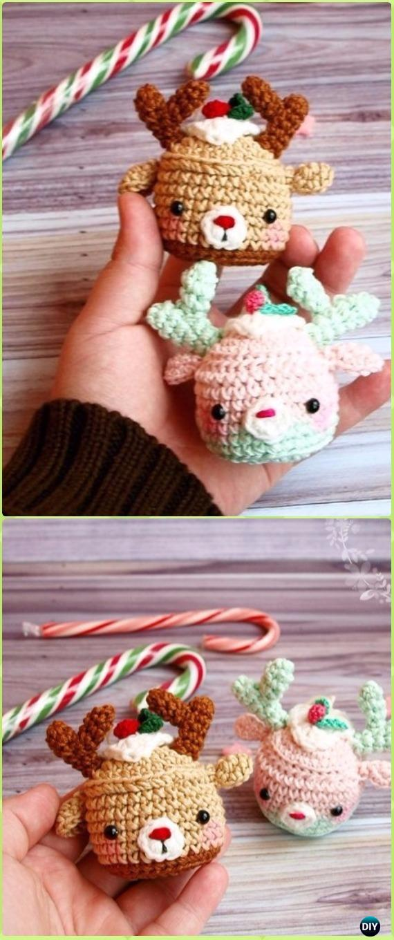 Deer cupcake crochet ornaments.