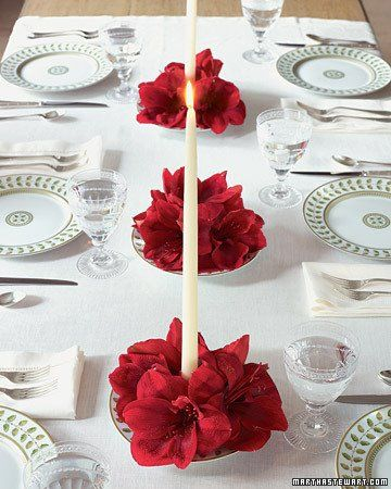 Elegant white table decoration with red flowers.