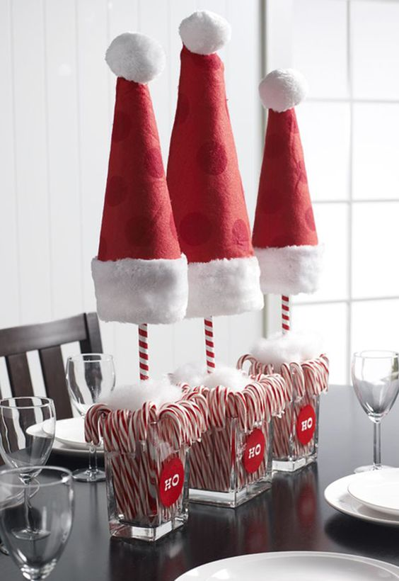 Exclusive diy santa hat centerpiece.