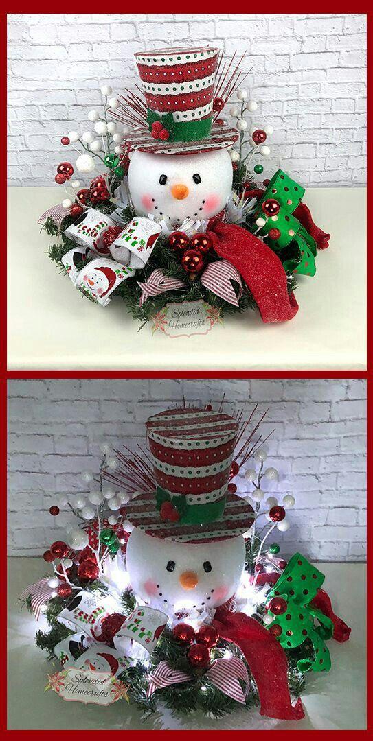 Fabulous Christmas snowman centerpiece.