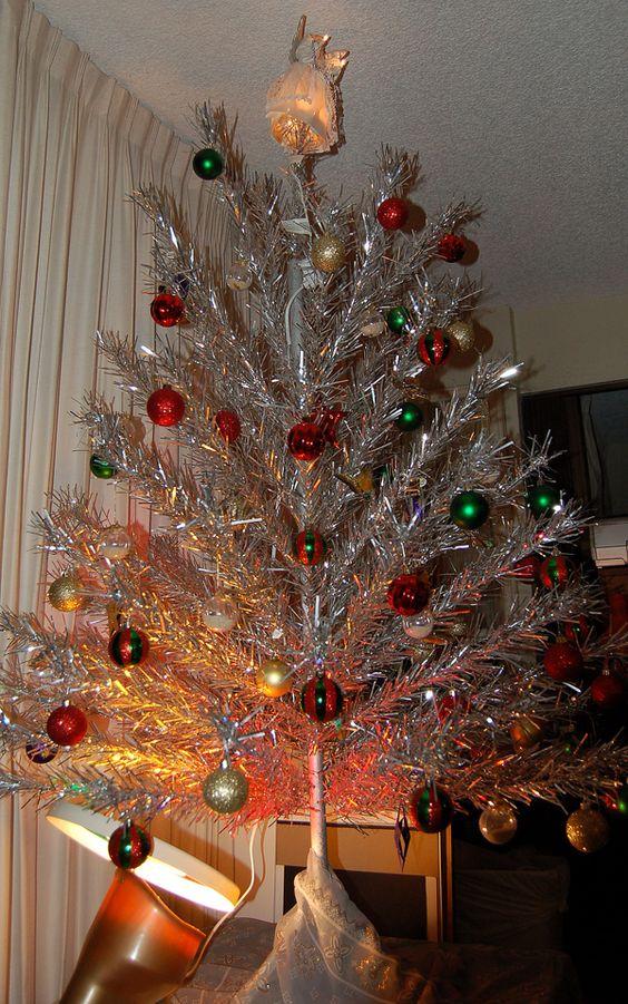 Fabulous aluminium Christmas tree with colorful ornaments.