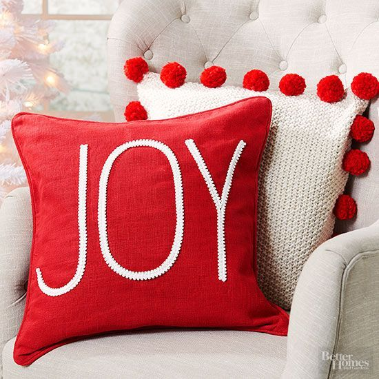 Fabulous joy Christmas pillow cover in red.