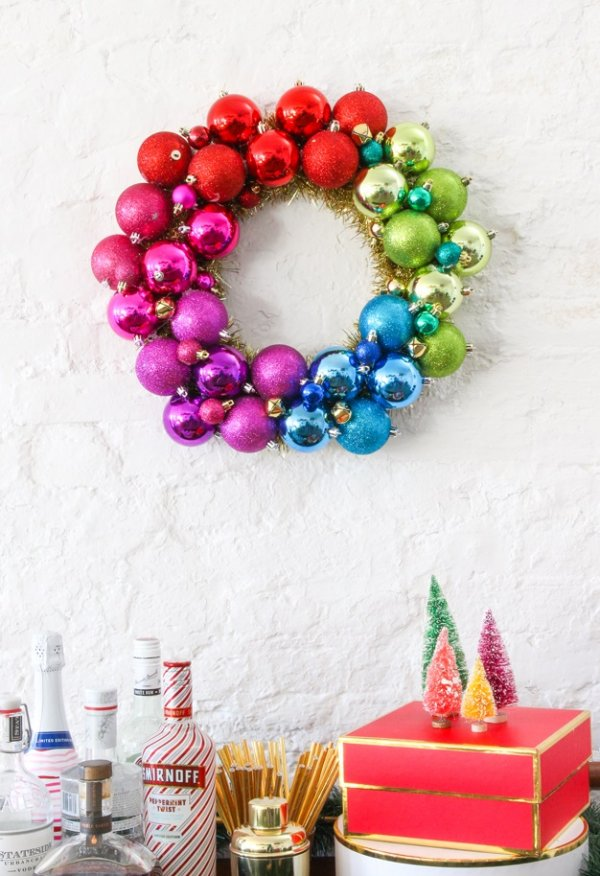 Fabulous ornament wreath with brush trees.