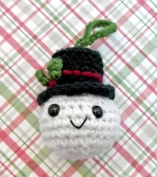 Fabulous snowman crochet ornament.
