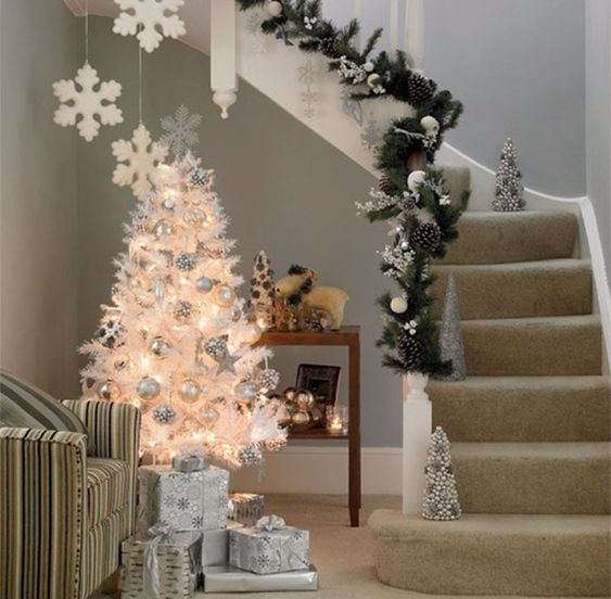 Fairytail theme staircase decoration at Christmas.