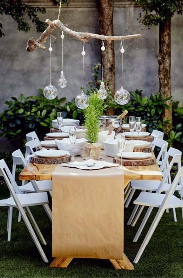 Farmhouse style outdoor Christmas table setting.