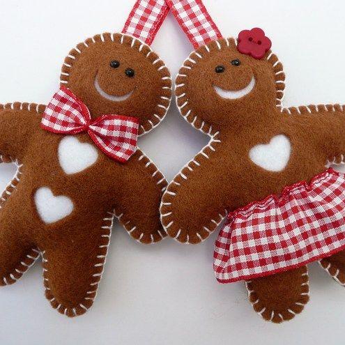 Felt gingerbread Christmas tree ornaments.