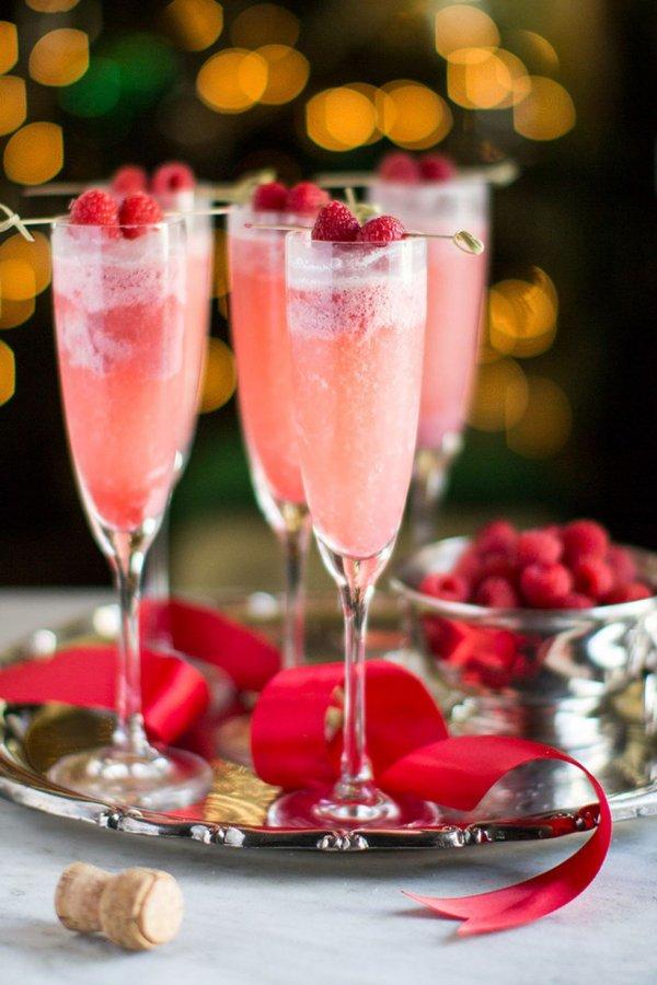 Frozen raspberry cream mimosas.