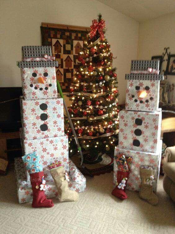 Gift wrap stacks as snowman.