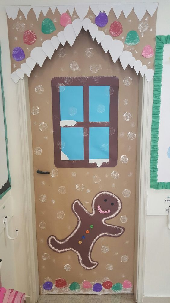 Gingerbread house door decoration for school.