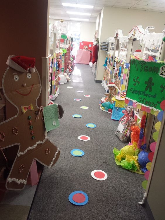 Gingerbread theme office decoration.