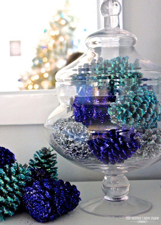 Glamorous glittered pinecones centerpiece.