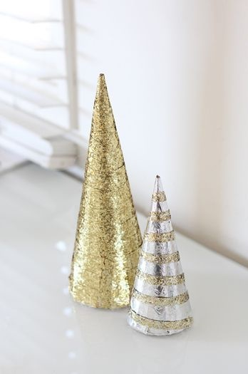 Golden and silver cardboard cone as tree.