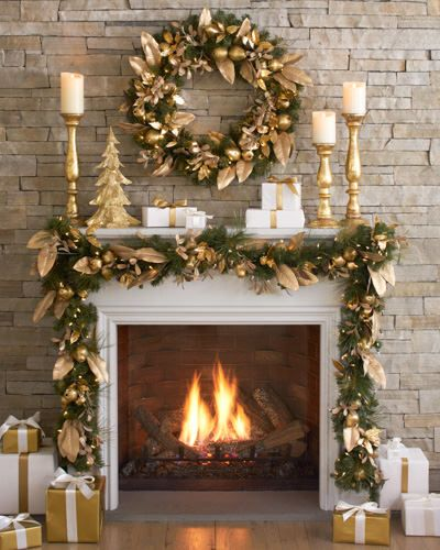 Golden touch with green for mantel décor with artificial golden tree.