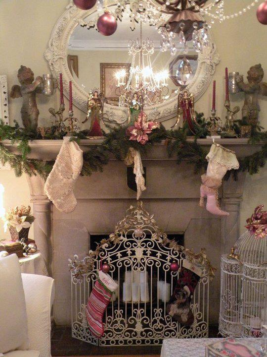 Graceful mantel decoration of shabby chic theme.