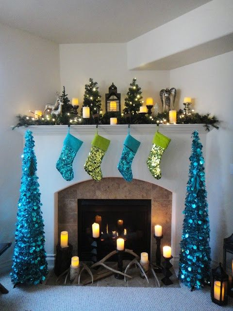 Green and blue sequin Christmas mantel decoration.