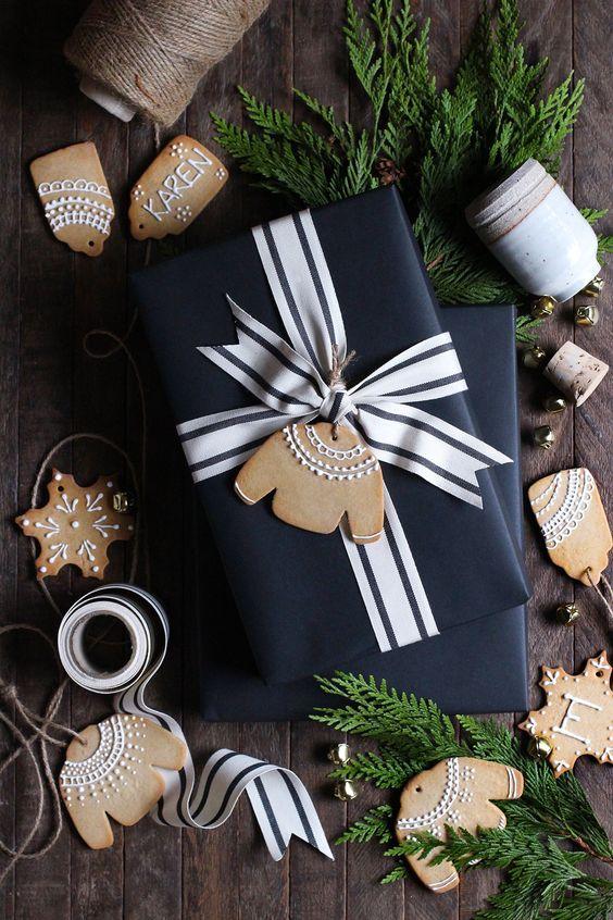 Handmade gingerbread gift tag for festive season.