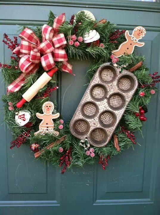Handmade vintage wreath for front door decor.