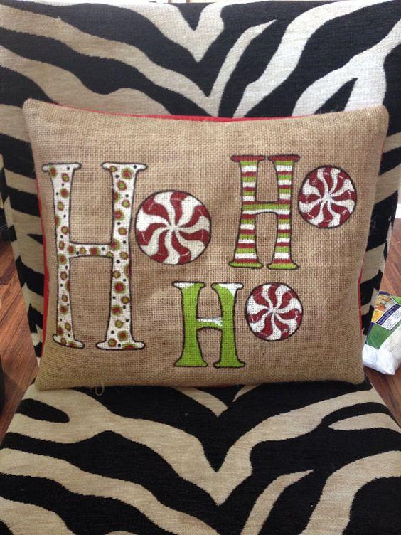 Ho Ho Ho Christmas pillow cover.