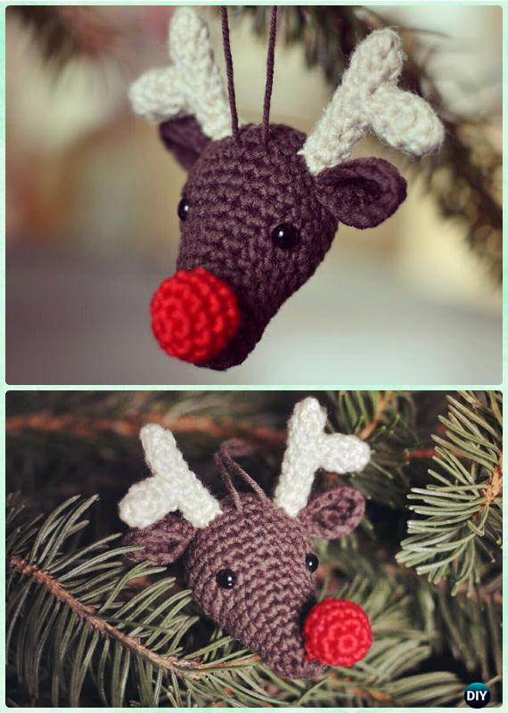 Impressive reindeer Christmas tree ornaments made of crochet.