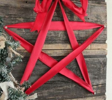 Inexpensive decoration with ribbon on reclaimed wood.