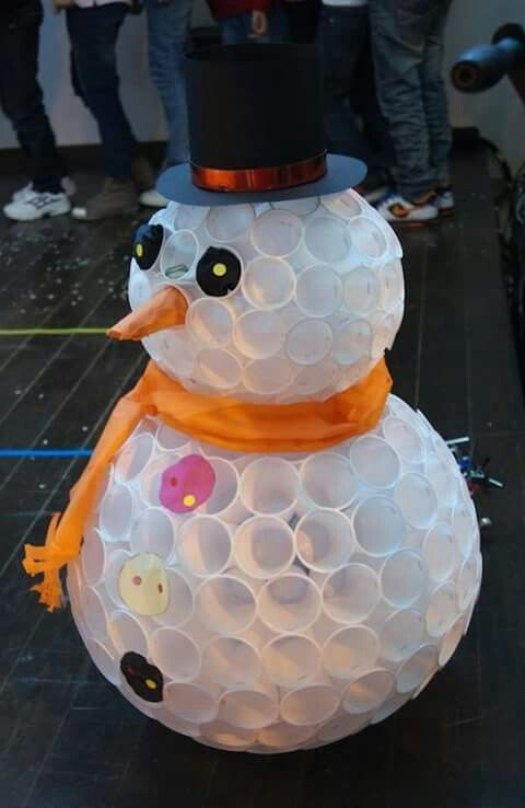 Innovative idea to use coffee cup as snowman for Christmas decoration.