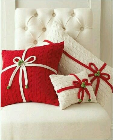 Knit red and white pillows.