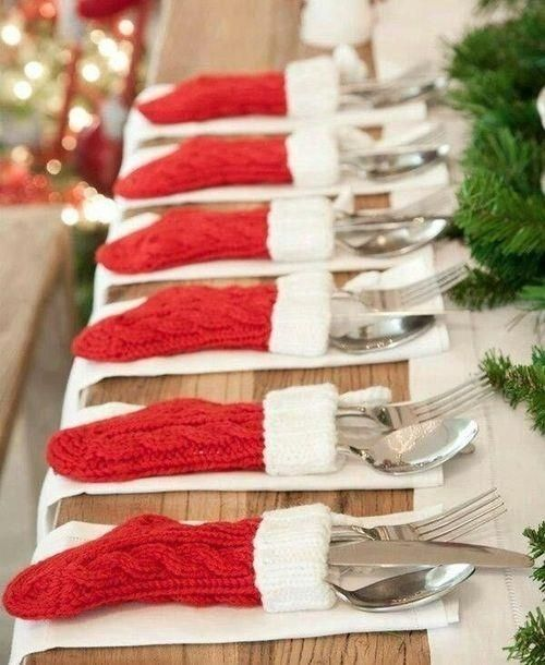 Knit stocking with utensils.