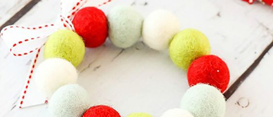 Lovely felt ball wreath ornaments.