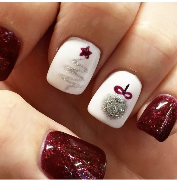 Magical Christmas tree and ornament glittery nail design.