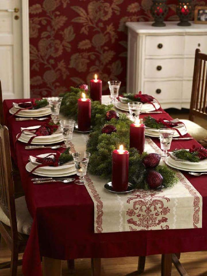 Maroon table decoration for holidays.