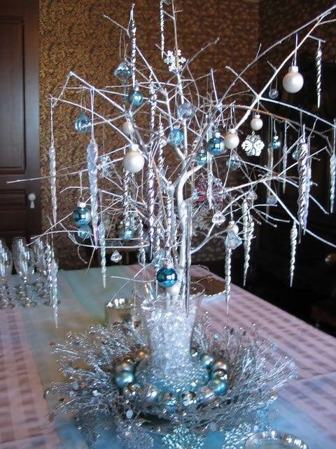 Marvelous ornament centerpiece for Christmas party.