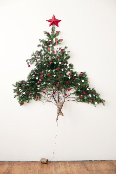 mini wall tree with red star tree topper - Mini Christmas Tree Topper