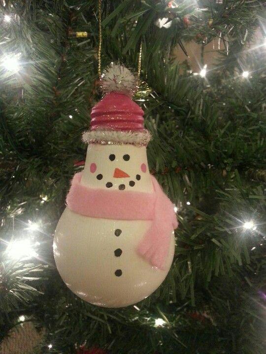 Nice handmade snowman light bulb.