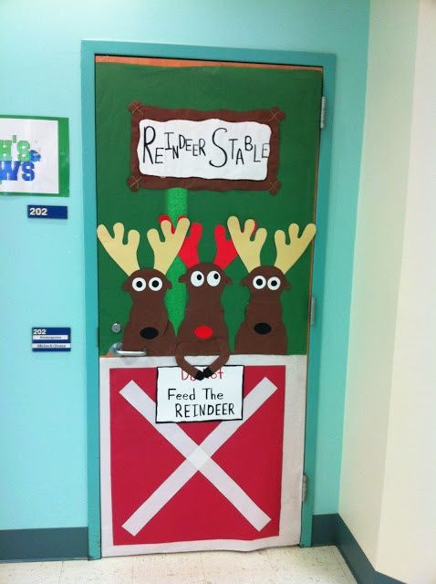 Nice reindeer stable classroom door decoration for Christmas.