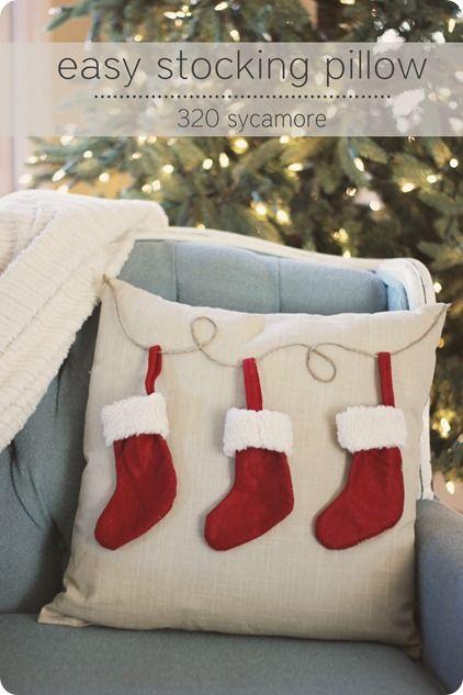 Nice way to hang stocking on pillow.