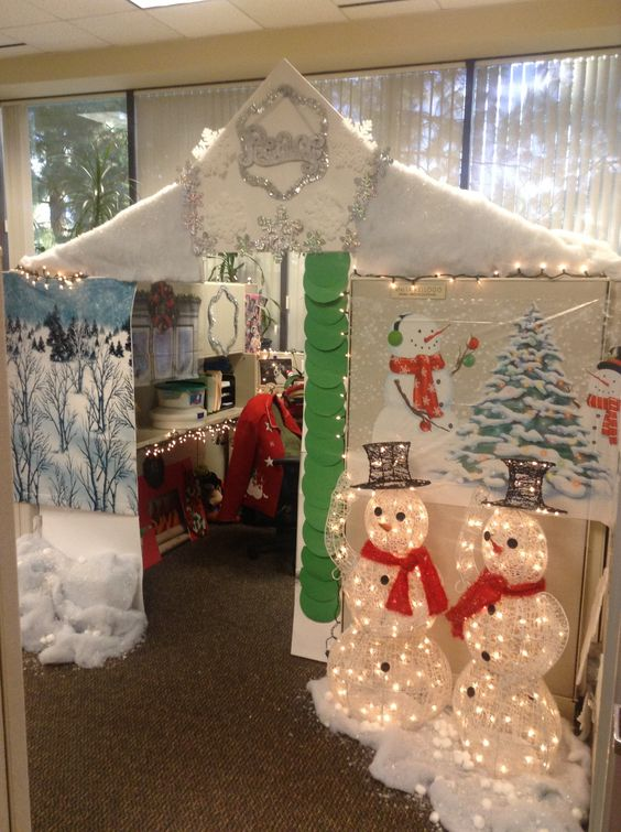 Office cubicle turned into winter wonderland.