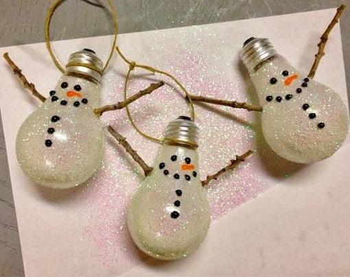 Old light bulbs decorated as snowman.