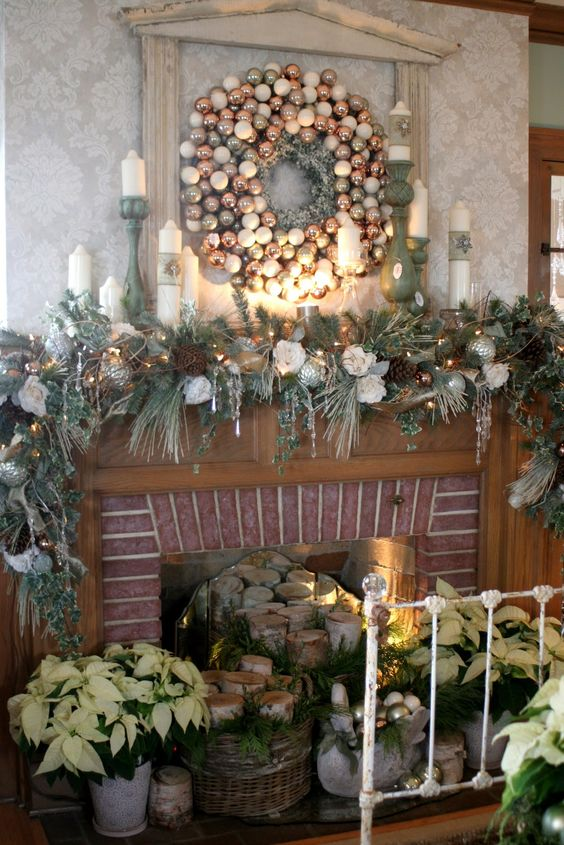 Olive green theme mantel decoration at Christmas.