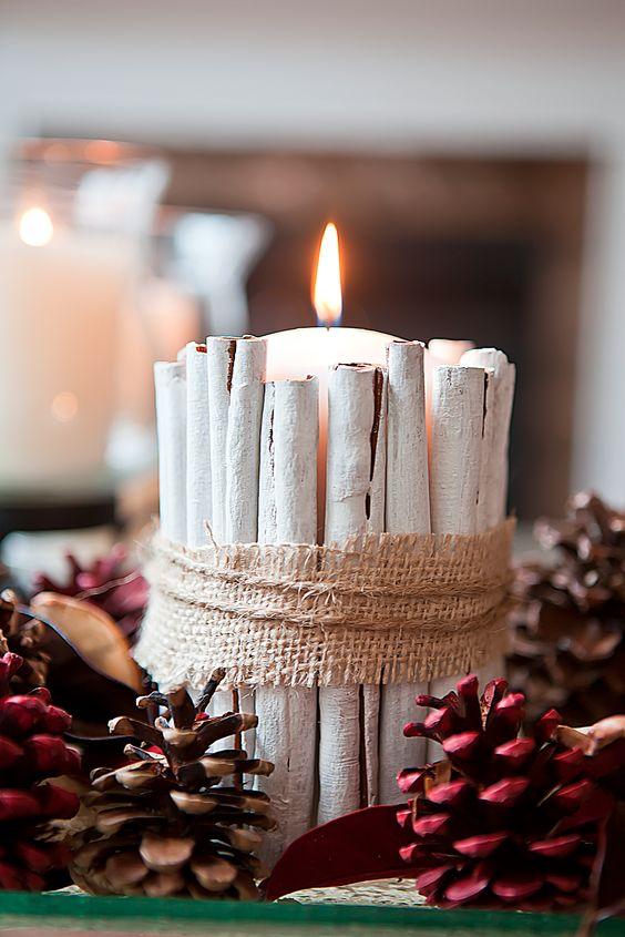 Painted cinnamon sticks candle holder.