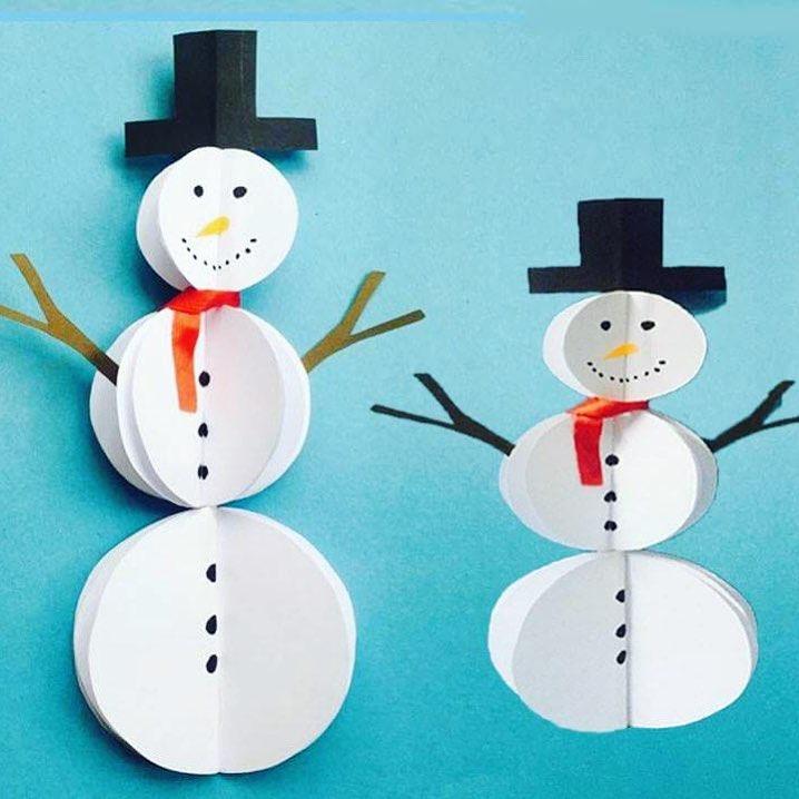 Paper cutout snowman for kids.