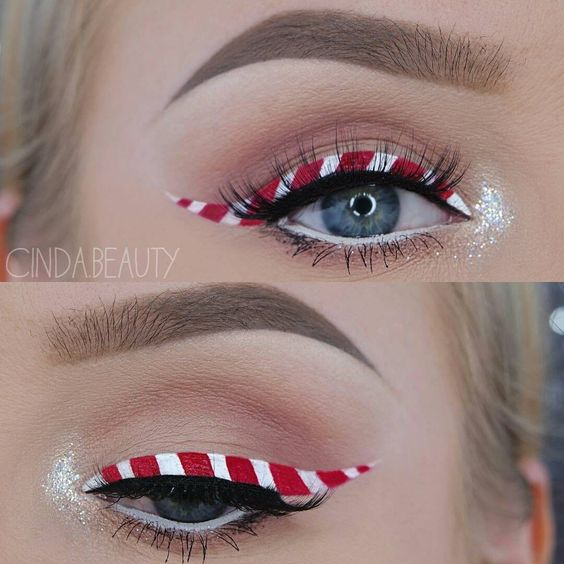 Peppermint candy cane eyes.