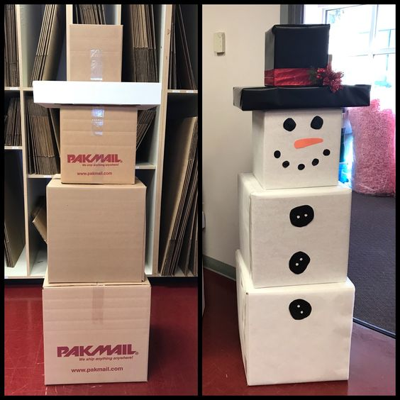 Perfect budgetary Christmas decoration with cardboard box snowman.