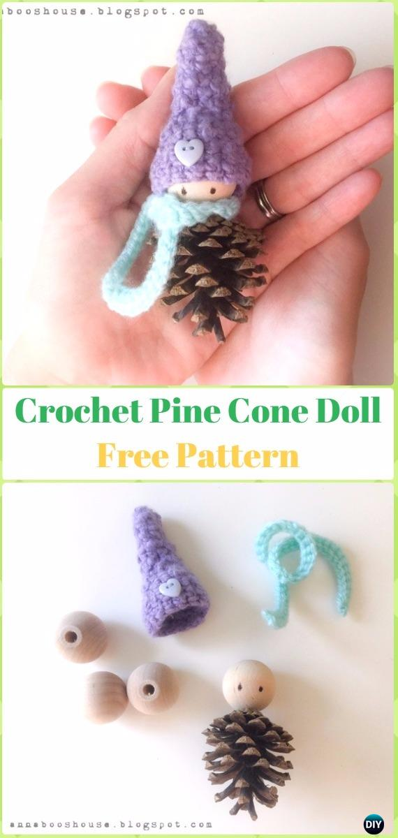Pinecone crochet doll ornaments.