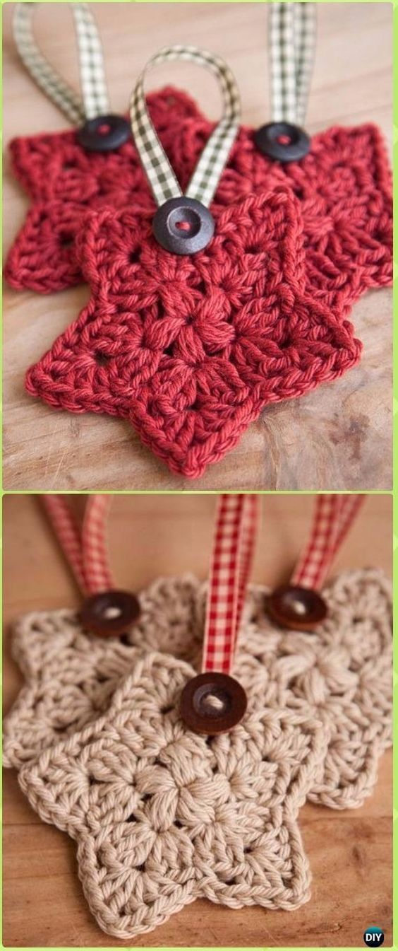 Pretty Crochet star Christmas tree ornaments.