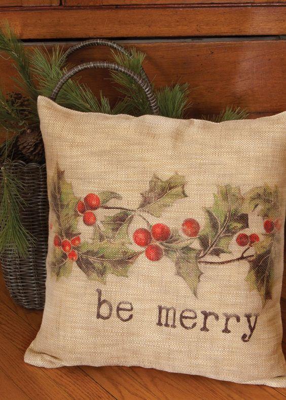 Printed burlap Christmas pillow cover.
