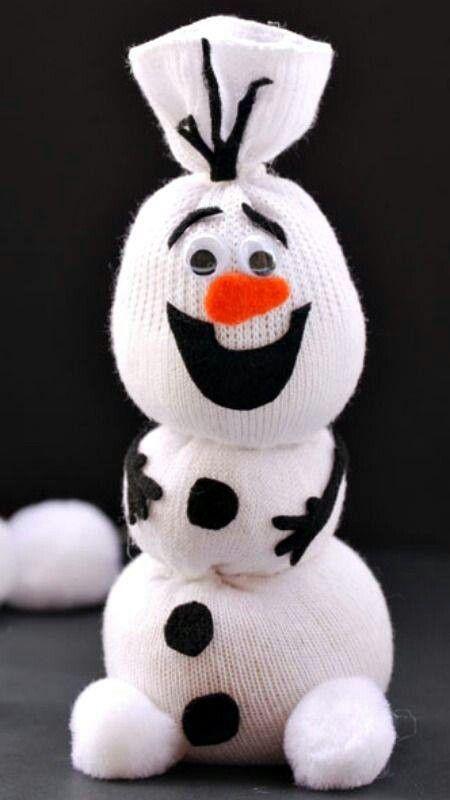 Quick socks snowman craft for kids.