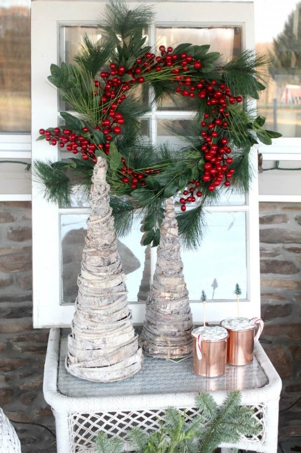 Reclaimed window decor with artificial christmas tree.